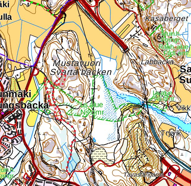 Mustavuoren alueen kartta, johon on merkitty punaisella pisteviivalla toteutunut reitti. Kartta on kuvakaappaus Maanmittauslaitoksen Karttapaikka-palvelusta.