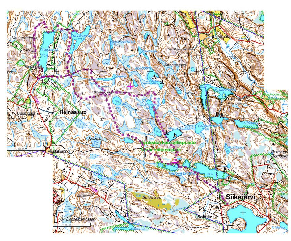 Nuuksion patikkaretken reitti merkittynä Retkikartta.fi -palvelusta ottamaani kuvakaappaukseen alueesta.